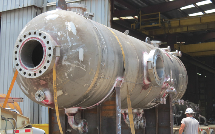 Figure 5. This 316 stainless separator is the first to be used offshore in place of a clad vessel