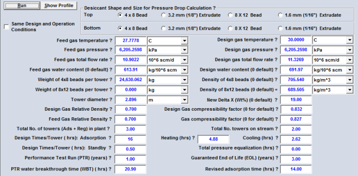 Table 6A. GCAP Option 18F input data with the revised adsorption time for the case study (SI units)