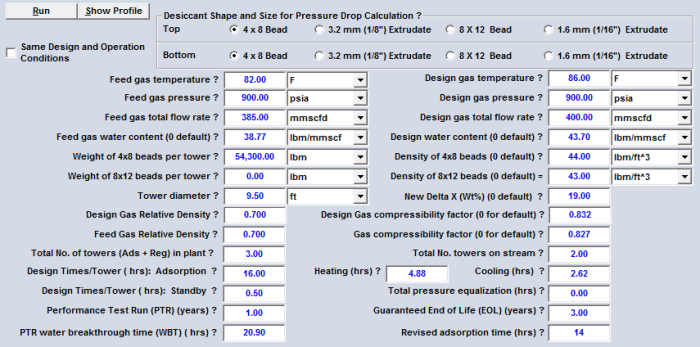 Table 6B. GCAP Option 18F input data with the revised adsorption time for the case study (FPS units)